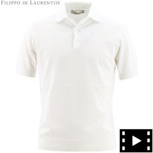 フィリッポデローレンティスFILIPPODELAURENTIISメンズクレープコットンハイゲージサマーニットポロシャツ1110-PL11MC06FDL0001(ホワイト)