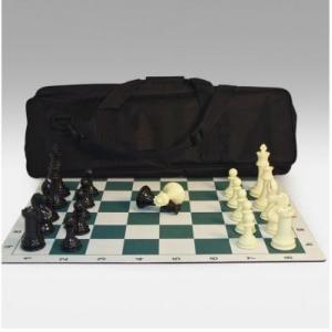 トーナメント チェス セット with ロール-アップ チェス ボード & キャンバス ジッパード トート【20インチ】|lagopus-y