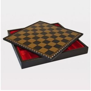 ブラック & ゴールド Pressed レザー チェス キャビネット  1.5【14インチ】|lagopus-y