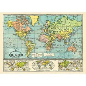 "Cavallini & Co. The World Map 6 Decorative Paper Sheet 20"" X 28""【並行輸入品】 lakibox28"
