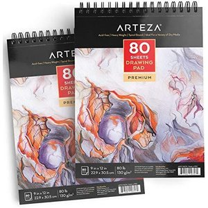 ARTEZA 9X12 Drawing Pad, Pack of 2, 160 Sheets (80lb/130g), Spiral Bound Artist Drawing Books, 80 Sheets Each, Durable Acid Free Sketch Pape lakibox28