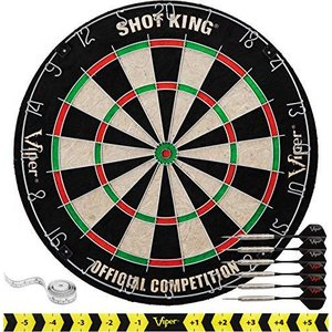 Viper by GLD Products Shot King Regulation Bristle Steel Tip Dartboard Set with Staple-Free Bullseye, Galvanized Metal Radial Spider Wire; H lakibox28