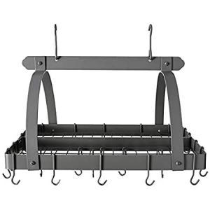 "Old Dutch Rectangular Hanging Pot Rack with Grid & 24 Hooks, Graphite, 30"" 好評販売中|lakibox28"