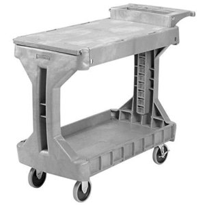 Akro-Mils 30930 ProCart 2 Shelf Flip Top Plastic Service Utility Cart with Handle and Wheels, (42-Inch x 19-Inch x 35-Inch), Gray【並行|lakibox28