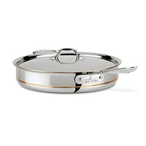 All-Clad 6406 SS Copper Core 5-Ply Bonded Dishwasher Safe Saute Pan with Lid / Cookware, 6-Quart, Silver -【並行輸入品】|lakibox28
