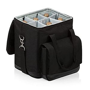 LEGACY - a Picnic Time Brand Cellar Insulated Six Bottle Wine Tote, Black,1好評販売中|lakibox28