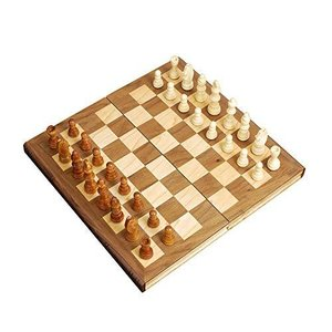 """STERLING Games 12"""" Wooden Chess Set Portable Travel Folding Board with Magnetic Closure and Felted Interior Piece Holder Storage【並行輸
