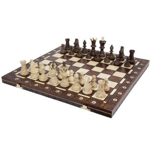 Wegiel Handmade European Ambassador Chess Set - Wooden 21 Inch Beech & Birch Board With Felt Base - Carved Hornbeam & Sycamore Wood Chess Pi|lakibox28