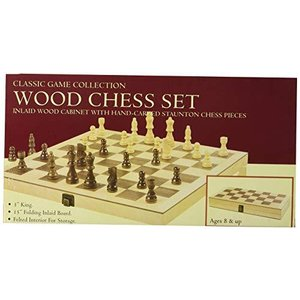 """Hansen Games Classic Natural Wood Wooden Chess Set 15"""" Inlaid Board with Hand Carved Chessmen and Storage【並行輸入品】