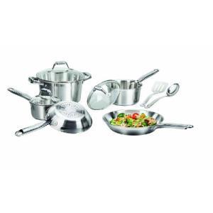 T-fal C811Sa Elegance Cookware Set, Stainless Steel/ Silver, 10 Piece【並行輸入品】|lakibox28