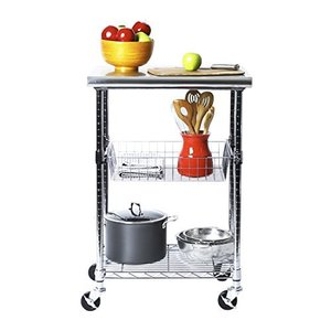 """Seville Classics Stainless-Steel Professional Kitchen Work Table Cart Utility NSF-Certified Storage, 24"""" W x 20"""" D x 36"""" H, Chrome【並行