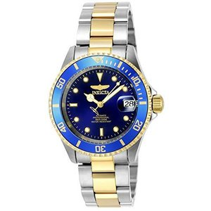 Invicta Men's Pro Diver 40mm Steel and Gold Tone Stainless Steel Automatic Watch with Coin Edge Bezel, Two Tone/Blue (Model: 8928OB)【並 lakibox28