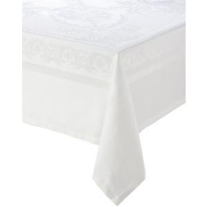 "Garnier Thiebaut, Beauregard Blanc (White) Tablecloth, 75"" x 122"", 100% two-ply twisted cotton, Made in France【並行輸入品】|lakibox28"
