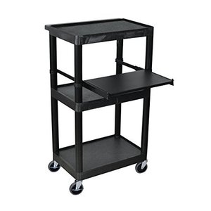 LUXOR LT45-B Mobile Presentation Workstation 3 Shelf Cart with Tray, Black【並行輸入品】|lakibox28