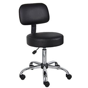 Boss Office Products Be Well Medical Spa Stool with Back in Black好評販売中|lakibox28