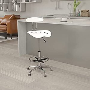 Flash Furniture Vibrant White and Chrome Drafting Stool with Tractor Seat好評販売中|lakibox28