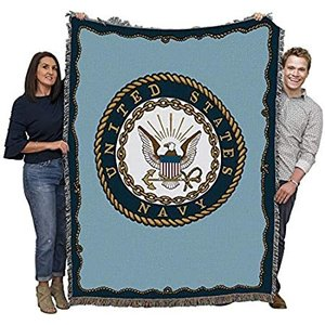 US Navy - Emblem - Cotton Woven Blanket Throw - Made in The USA (72x54)好評販売中|lakibox28