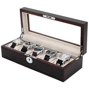 Black & Brown Wood Watch Box for 5 Watches Large Compartments Glass Window【並行輸入品】 lakibox28