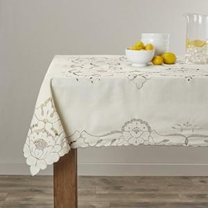 "Violet Linen Sapphire Embroidered Design Tablecloth, 60"" x 105"", Beige【並行輸入品】|lakibox28"