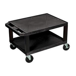 "Luxor Mobile Multipurpose 16""H AV Utility Cart with 2 Shelf, Electric - Black【並行輸入品】|lakibox28"