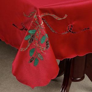 60 X 140 Oblong Red Lenox Cutwork Holiday Nouveau Christmas Tablecloth By Bardwill【並行輸入品】|lakibox28