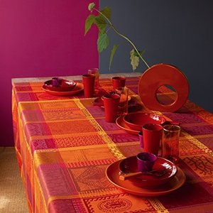 Garnier Thiebaut Coated Tablecloth Mille Wax Ketchup 69 Inch Round, 100% two-ply twisted cotton, Coated with three layers of acrylic, Made i|lakibox28