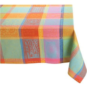 Garnier Thiebaut Mille Wax 100% two-ply twisted cotton 71-Inch by 98-Inch Oblong Tablecloth, Creole, Made in France【並行輸入品】|lakibox28