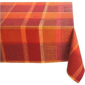 Garnier Thiebaut Mille Wax 100% two-ply twisted cotton 71-Inch by 98-Inch Oblong Tablecloth, Ketchup, Made in France【並行輸入品】|lakibox28
