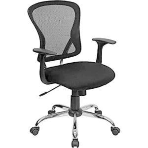 Flash Furniture Mid-Back Black Mesh Swivel Task Office Chair with Chrome Ba好評販売中|lakibox28
