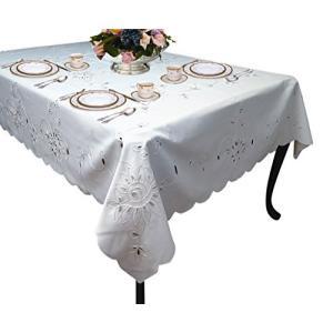 "Violet Linen Rivierra Embroidered Design Tablecloth, 70"" x 140"", White【並行輸入品】|lakibox28"
