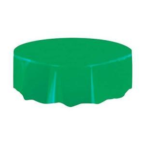"Round Green Plastic Tablecloth, 84""【並行輸入品】|lakibox28"