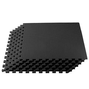 We Sell Mats 1/2 Inch Thickness Multipurpose EVA Foam Floor Tiles, Interlocking Floor Mat for Indoor Gym and Home Use, 24 in x 24 in, Black,|lakibox28