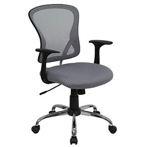Flash Furniture Mid-Back Gray Mesh Swivel Task Office Chair with Chrome Bas好評販売中|lakibox28