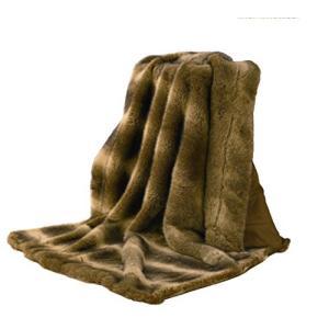 "HiEnd Accents Faux Wolf Fur Rustic Throw Blanket, 50"" x 60"", Brown【並行輸入品】|lakibox28"