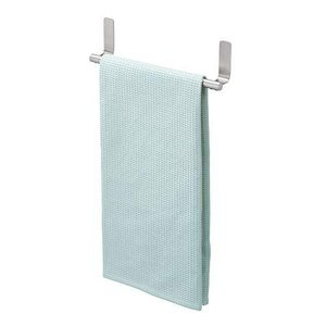 iDesign 82700 Forma Self-Adhesive Towel Bar Holder for Bathroom, Kitchen Walls, Cabinets, Above Counters, Set of 1, Brushed Stainless Steel|lakibox28