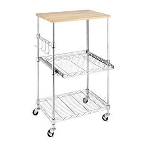 Whitmor Supreme Microwave Cart with Locking Wheels - Chrome with Food Safe Cutting Board【並行輸入品】|lakibox28
