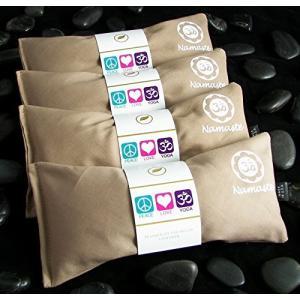 Happy Wraps Namaste Yoga Eye Pillows - Unscented Eye Pillows for Yoga - Set of 4 - Tan Cotton【並行輸入品】 lakibox28