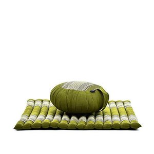 Leewadee Meditation Cushion Set: Round Zafu Pillow and Large Square Zabuton Mat for Floor Seating Eco-Friendly Organic and Natural, Kapok, G|lakibox28