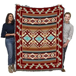 Las Cruces Chenille - Southwest Native American Inspired Tribal Camp - Blanket Throw Woven from Cotton - Made in The USA (72x54)【並行輸|lakibox28