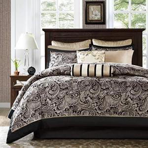Madison Park Aubrey King Size Bed Comforter Set Bed In A Bag - Black, Champagne , Paisley Jacquard ? 12 Pieces Bedding Sets ? Ultra Soft|lakibox28