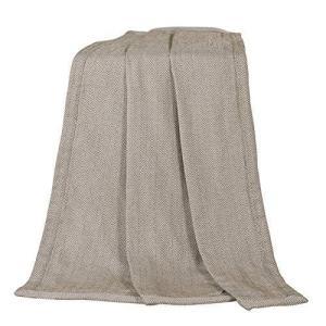 "HiEnd Accents Fairfield Chevron Herringbone Throw Blanket, 50"" x 60"", Taupe【並行輸入品】|lakibox28"