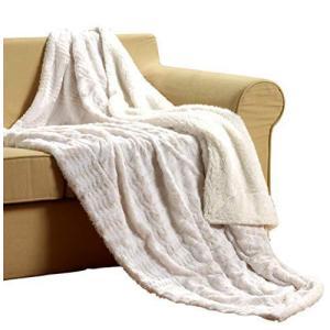 Tache White Ivory Super Soft Warm Polar Faux Fur with Sherpa Throw Blanket 63 x 87【並行輸入品】|lakibox28