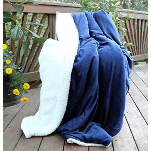 "Tache Dark Navy Blue Warm Super Soft Sherpa Winter Night Micro Fleece Throw Blanket 50"" x 60""【並行輸入品】|lakibox28"