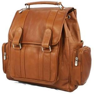 Piel Leather Double Loop Flap-Over Laptop Backpack, Saddle, One Size【並行輸入品】|lakibox28