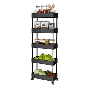 KING GLOBAL 5 Tier Slim Storage Cart Mobile Shelving Unit Organizer Rolling Utility Cart Slide Out Storage Tower Rack with Wheels for Kitche|lakibox28