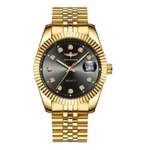 Time Warrior, Gold Quartz Watch, Men's Gold and Diamonds, Men Wrist Watch Datejust【並行輸入品】 lakibox28