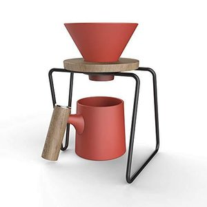 Ceramic Pour Over Coffee Maker Set   Includes Funnel, Stand and 16 oz Ceramic Mug with Wooden Handle   Unique Coffee Maker Design For a Mode lakibox28