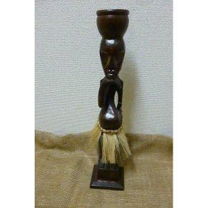 木彫り 小物入れ付き原人 アジアン エスニック置物 アフリカン エスニック雑貨|lakshmi2011