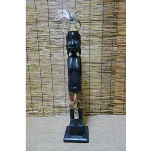 木彫り 原人少女 木彫りアジアン エスニック置物 アフリカン エスニック雑貨|lakshmi2011