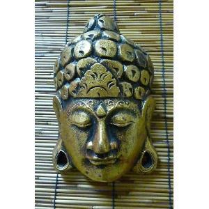 壁掛けブッダヘッド 木彫り神様 仏陀壁飾り ブッダ顔オブジェ ブッダ置物 神様雑貨|lakshmi2011